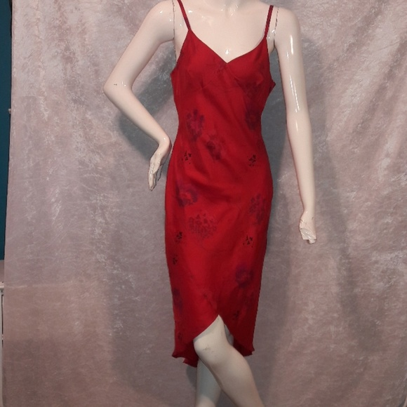 81090e339af1 Red silk slip dress from Express